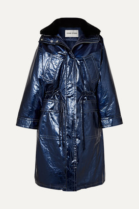 Stand Studio Fatima Oversized Faux Fur-trimmed Crinkled Metallic Faux Leather Coat - Blue