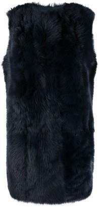 Yves Salomon Sleeveless Fur Detail Coat