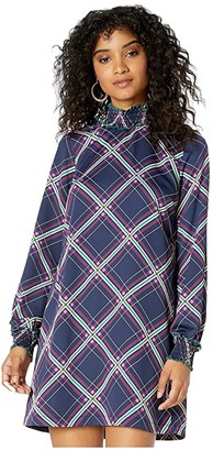 BCBGeneration Long Sleeve Woven Dress (Dark Navy Combo) Women's Dress