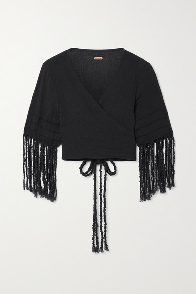 Thumbnail for your product : CARAVANA Saskun Fringed Cotton-gauze Wrap Top - Black