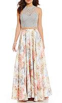 Jodi Kristopher Glitter Lace Two-Piece Floral Print Long Dress