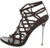 Brian Atwood Studded Snakeskin Cage Sandals