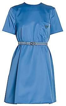 Prada Women's Patch Pocket Belted Swing Dress