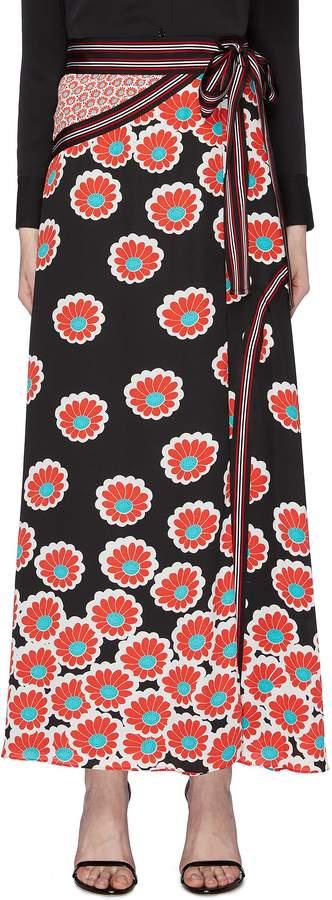 Diane von Furstenberg 'Taylor' mix floral print wrap skirt