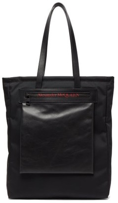 Alexander McQueen City Logo-print Leather-trim Nylon Tote - Black
