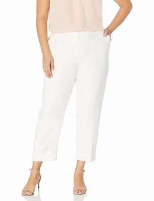 Kasper Women's Petite Elastic Back Linen Pant with Side Slits