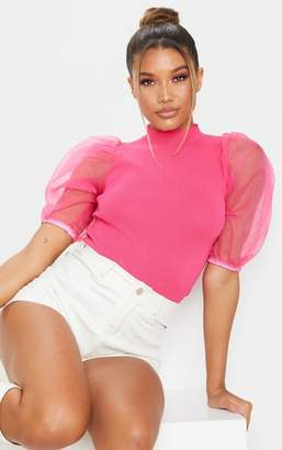 PrettyLittleThing Hot Pink Organza Puff Sleeve Knitted Top
