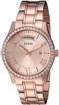 GUESS Women's U0764L3 Dressy Rose Gold-Tone Stainless Steel Multi-Function Watch with Day & Date Dial and Pilot Buckle