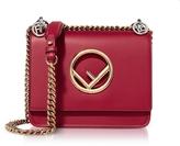 Fendi Kan I F Small Red Leather Shoulder Bag