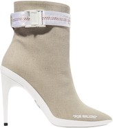 Off-White Off WhiteTM For Walking Buckled Canvas Ankle Boots
