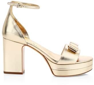 Salvatore Ferragamo Eclipse Metallic Leather Platform Sandals