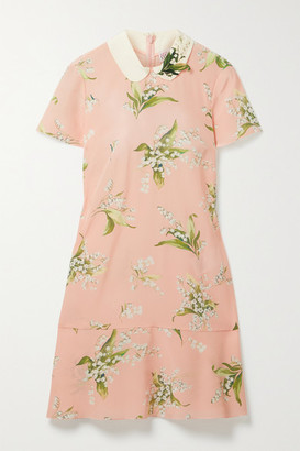 RED Valentino Embroidered Floral-print Silk Crepe De Chine Mini Dress - Baby pink