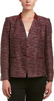Lafayette 148 New York Petite Sydney Leather-Trim Jacket