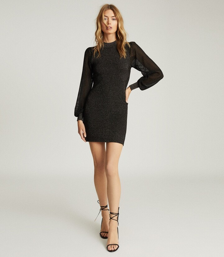Reiss Sia - Metallic Semi-sheer Sleeve Dress in Black