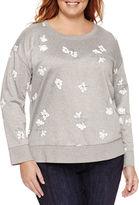 Liz Claiborne Long Sleeve Crew Neck T-Shirt-Plus