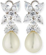 FANTASIA Flower Top CZ & Simulated Pearl Drop Earrings