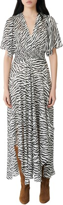 Maje Zebra Print Maxi Dress