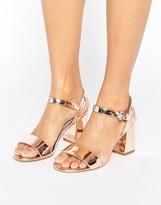 Dune Mylo Rose Gold Block Heel Sandals