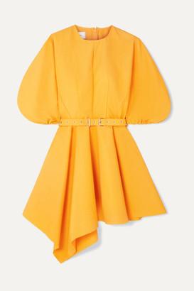 Marques Almeida Marques' Almeida - Belted Asymmetric Faille Mini Dress - Yellow