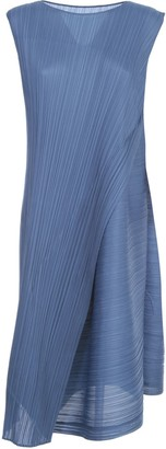 Pleats Please Issey Miyake Sleeveless A-line Dress W/ Diagonal Pleats