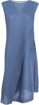 Pleats Please Issey Miyake Sleeveless A-line Dress W/ Diagonal Pleats