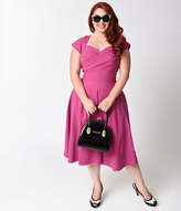 Stop Staring Exclusive Mad Style Plus Size Fuchsia Cap Sleeve Swing Dress