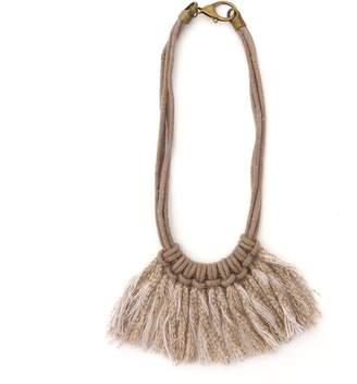 Zelma Rose Saguaro Fringe Necklace In Driftwood Taupe