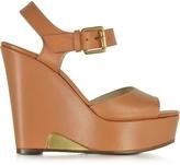 L'Autre Chose Apricot Leather Wedge Sandal