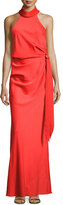 Camilla And Marc Sleeveless Draped Satin Gown, Red