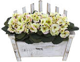 Nearly Natural African Violet Artificial Plant in Wooden Bench Planter