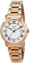 Rotary Women's Quartz Watch with White Dial Analogue Display and Rose Gold Stainless Steel Bracelet LB90144/06