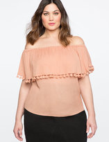 ELOQUII Plus Size Off the Shoulder Top with Tassels
