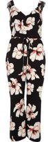 River Island Womens Black floral print culotte tie waist jumpsuit