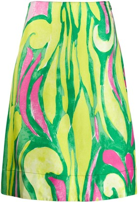 Marni Abstract Print Silk Skirt
