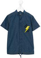 Fendi logo lightning embroidered pocket shirt - kids - Cotton - 3 yrs