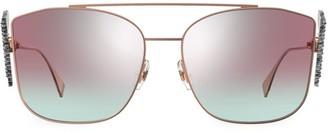 Fendi 62MM Square Embellished F Sunglasses