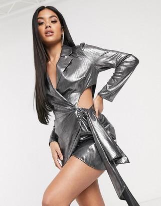 Asos Design DESIGN metallic jersey draped cut out side blazer-Multi