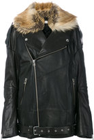 Faith Connexion faux fur trim leather jacket - women - Calf Leather/Lamb Skin/Modacrylic/Polyester - XS