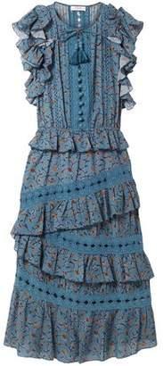 Sea Crochet-trimmed Floral-print Cotton-blend Midi Dress