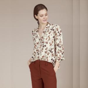 Anecdote - Bobo Flower Print Loose Blouse - M - Natural/Copper/Orange