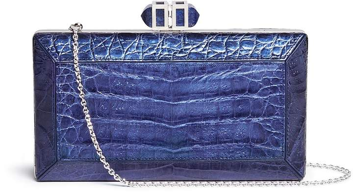 Judith Leiber 'Cayman Coffered Rectangle' metallic crocodile leather box clutch