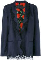 Alexander Wang lace trim pinstriped blazer - women - Silk/Virgin Wool - 8