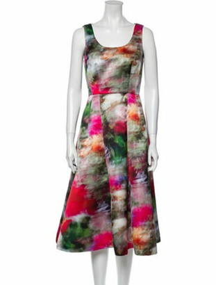 Adam Lippes Printed Midi Length Dress w/ Tags Green