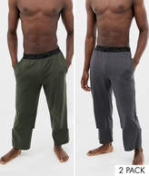 Asos Design ASOS DESIGN straight jersey pyjama bottoms in khaki & charcoal 2 pack in organic cotton