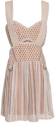 Self-Portrait Cutout Pleated Crocheted Mini Dress
