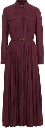 Gabriela Hearst Erella Belted Pleated Cashmere-gauze Midi Shirt Dress