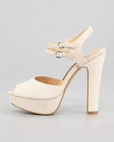 French Connection Gabby Ankle-Wrap Platform Sandal, Nude