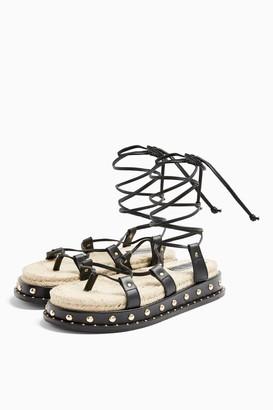 Topshop PEPPER Black Leather Sandals