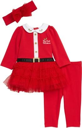 Little Me Santa Tutu Dress, Leggings & Headband Set
