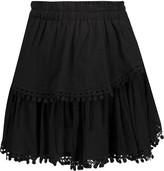 LoveShackFancy Embroidered pleated cotton-gauze mini skirt